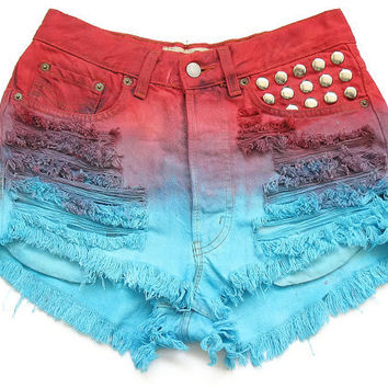 Dyed and studded high waisted shorts M by deathdiscolovesyou