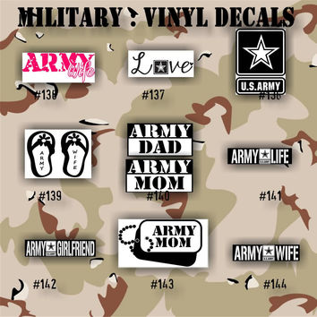 MILITARY vinyl decals - 136-144 - Army, Air Force, Navy and Marines - car decals - custom vinyl stickers - window stickers - vinyl decal