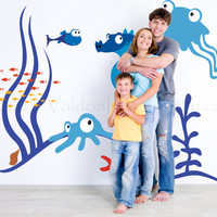 Underwater fish friends wall decal, wall sticker, decal, wall graphic , vinyl decal for the bathroom or play room, sticker, vinyl graphic