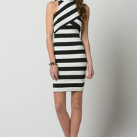 (amq) High neck black and white striped dress