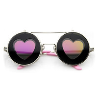 Cute Hippie Heart Shape Silhouette Flip Up sunglasses 9638