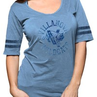 Villanova Wildcats Original Retro Brand T-Shirt - Wildcats Light Blue Retro Stripe Short Sleeve Scoop