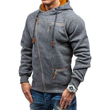 Personality Side Zipper Hooded Sweater for Men