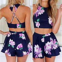 Round Collar Sleeveless Floral Print Tank Top + Loose-Fitting Shorts Women's Twinset