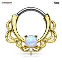 Starbeauty Royal Septum OPAL Nose Ring 16G Nose Piercings Women Ear Helix Tragus Piercing Body Jewelry Pircing Daith Piercing