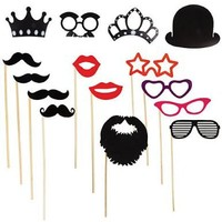 Photo Booth Props Accessories Wedding, Birthday Parties 17pc