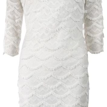 Guess Women's Fringed 3/4 Sleeves Lace Dress