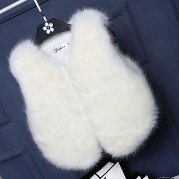 PEAPUF3 Women Lady Vest Sleeveless Coat Faux Fur Outerwear Long Hair Jacket Waistcoat