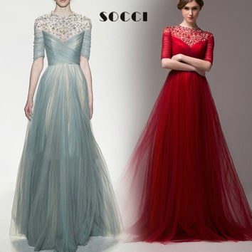WINE RED Tulle Pleat Long Evening Dress 2016 O-neck Beaded Key Hole Back white formal Wedding Party Dresses robe de soiree longo