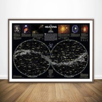 Stars Map Chart Constellations Of Northern Southern Hemispheres Giant Movie Wall Art Decor Canvas Poster Oil Paintings No Frame