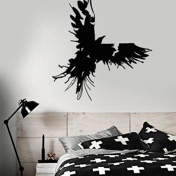 Vinyl Wall Decal Raven Blot Gothic Style Bird Feathers Stickers Unique Gift (2107ig)