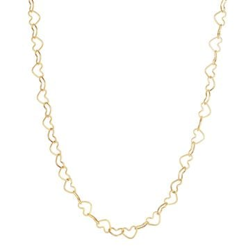 14K Yellow Gold Shiny Open Heart Link Necklace with Lobster Clasp