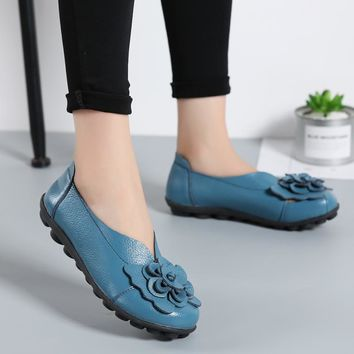 UNN Spring/ Women Ballet Flats Genuine Leather Loafers Shoes Slip on Flat Heel Shoes Ladies Loafers Ballerina Flats 5-9.5