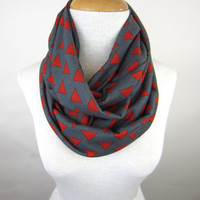 Triangle Print Scarf - Geometric Print Infinity Scarf - Red and Grey Jersey Scarf