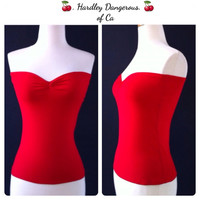 Sale, Red Cherrybomb Strapless Pin Up Top by HARDLEY DANGEROUS, ROCKABILLY Stretch Knit top, Rock n Roll Tube Top, Handmade to Order