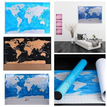 Foonee® Large Detailed Track Your Adventures Scratch Off World Map Poster for Travelers Wall Sticker Home Decoration