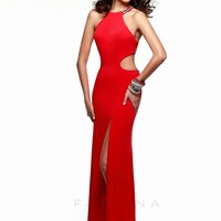 Faviana 7543 Beaded High Neck Jersey Gown - RissyRoos
