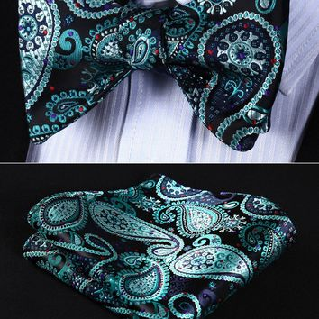 Floral 100%Silk Woven Men Butterfly Bow Tie BowTie Pocket Square Handkerchief Hanky Suit Set #RF5