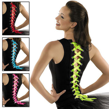 Ribbon Lace-Up Dance Tank Top; Urban Groove