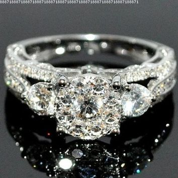 Bridal 3 Stone Style Vintage 2ctw Diamond Engagement Wedding Ring 14K White Gold