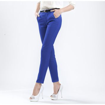 2017 Autumn Fashion New Women Pencil Casual Pants Work Wear Size S-XXL Office OL Style Candy Colors Lady Formal Trousers