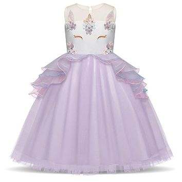 Princess Unicorn Party Dress Cartoon Fairy Purple Summer Dress for girl 3 8T Kids Children's Clothing Girls Costume Vestido