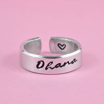ohana - Hand Stamped Aluminum Cuff Ring, Family Ring, Script Font Verson