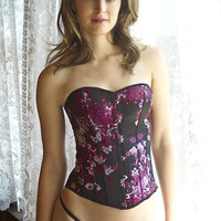Silk hand made floral pattern sexy corsets