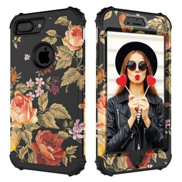 iPhone 7 Plus Case,iPhone 8 Plus Case,Digital Hutty 3 in 1 Shockproof Heavy Duty Full-body Protective Cover for Apple iPhone 7 Plus,iPhone 8 Plus Flower