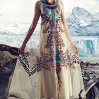 NWT ANTHROPOLOGIE by GEISHA DESIGNS GLACIA EMBROIDERED GOWN MAXI DRESS 6