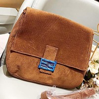 Fendi Fashion New Corduroy Women Shoulder Bag Crossbody Bag Brown