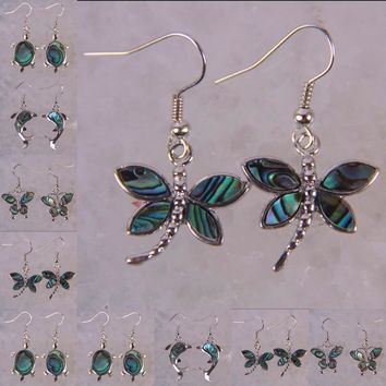 New Zealand Abalone Shell Bead Turtle Dolphin Dragonfly Butterfly Earrings Animal Jewelry For Woman Gift  T141-T144