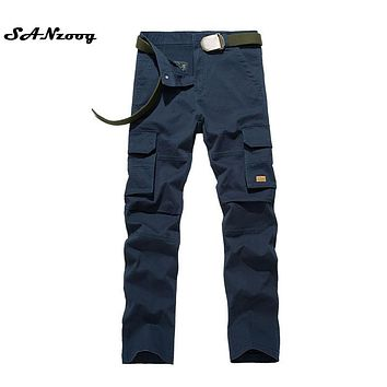 Size 29-38 New Arrival Casual Men Classic Cargo Pants 100% Cotton Solid Pocket Long Male Trousers Brand 4 Colors Style 2017