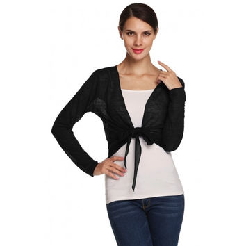Stylish Ladies Long Sleeve Plain Knit Semi Sheer Cropped Shrug Bolero Cardigan Top