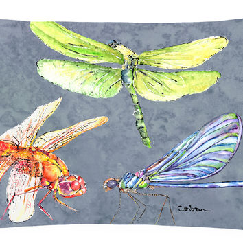 Dragonfly Times Three   Canvas Fabric Decorative Pillow