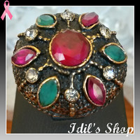 Authentic Turkish Ottoman Style Bronze Ring Encrusted With Emerald & Ruby Stones. Ring Is Adjustable.