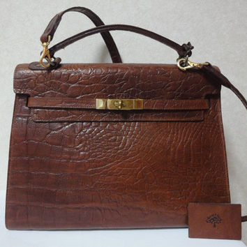 MINT. Vintage Mulberry croc embossed leather Kelly bag with shoulder strap. Roger Saul era. Rare masterpiece you must get.