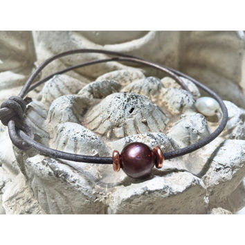 Gray Leather Chocolate Brown Freshwater Pearl Necklace Choker Copper Single Organic Women 11-12 mm Gemstone Beads
