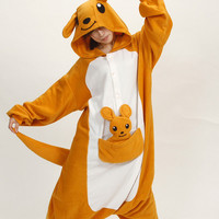 Winter Onesuit Flannel Pajama Sets Adult Unisex Cosplay Animal Pajamas Kangaroo Onesuits For Adults Pajama Suit