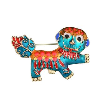MissCyCy Chinese Style Dance Lion Brooch for Women Men Enamel Broches Lapel Hijab Pins Fashion Jewelry