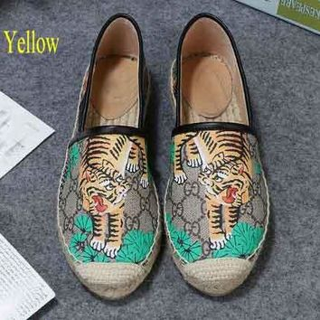 Gucci Trending Braid Soles Women Flat More Print Leisure Shoes Sandals  B104502-1 Tiger yellow
