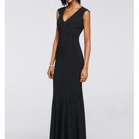 Jersey Dress with Cap Sleeves and V-Neckline - Davids Bridal