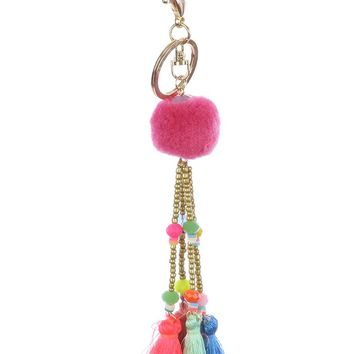 Mulit Color Pompom Tassel Charm Bag Accessory Key Chain