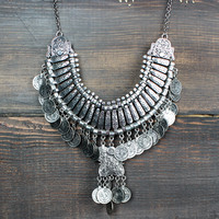 antique silver turkish coin necklace bib