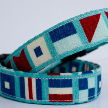 Nautical flags dog collar in blue turquoise and red by FunkyMutt