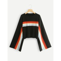 Bell Sleeve Striped Sweater
