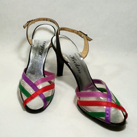 Cute Vintage Slingback Heels Flirty Colorful Ribbons on Clear Vintage Peep Toe Size 9 Narrow 1980s  Boutique Custom Design