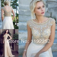 beaded mini dress Picture - More Detailed Picture about New 2014 custom made top sexy a line plus size ivory cheap elegant evening dresses with beading for party,wedding,prom Picture in Evening Dresses from readdress