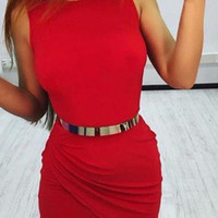Sleeveless Body-con Dress with Belt