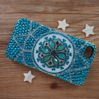 Exotica Gem Flower Rhinestone Handmade Case for iPhone 4/4s